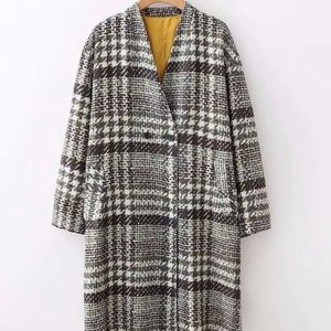 Zara plaid tweed coat sz s